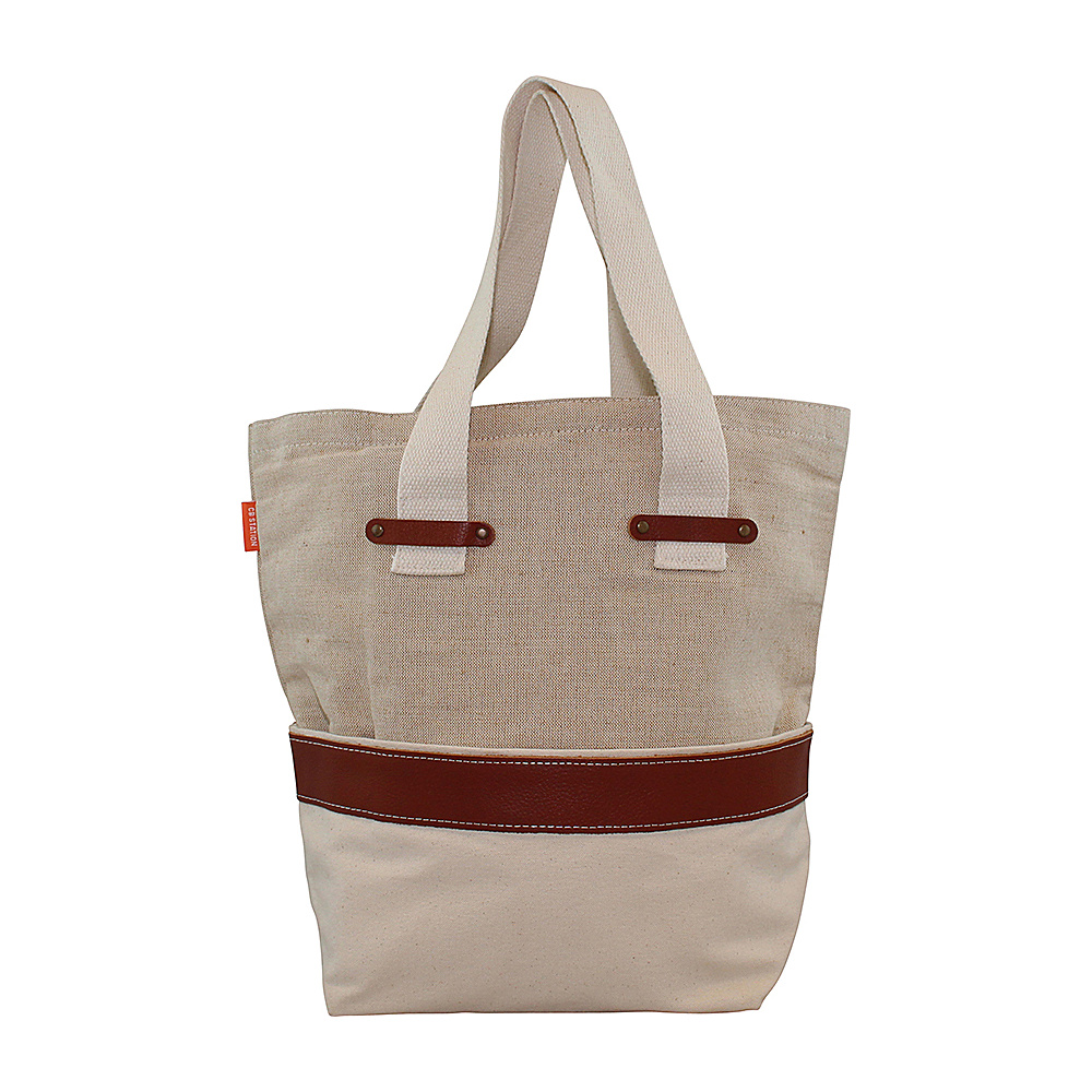 CB Station Jute and Canvas Tote Natural CB Station Fabric Handbags