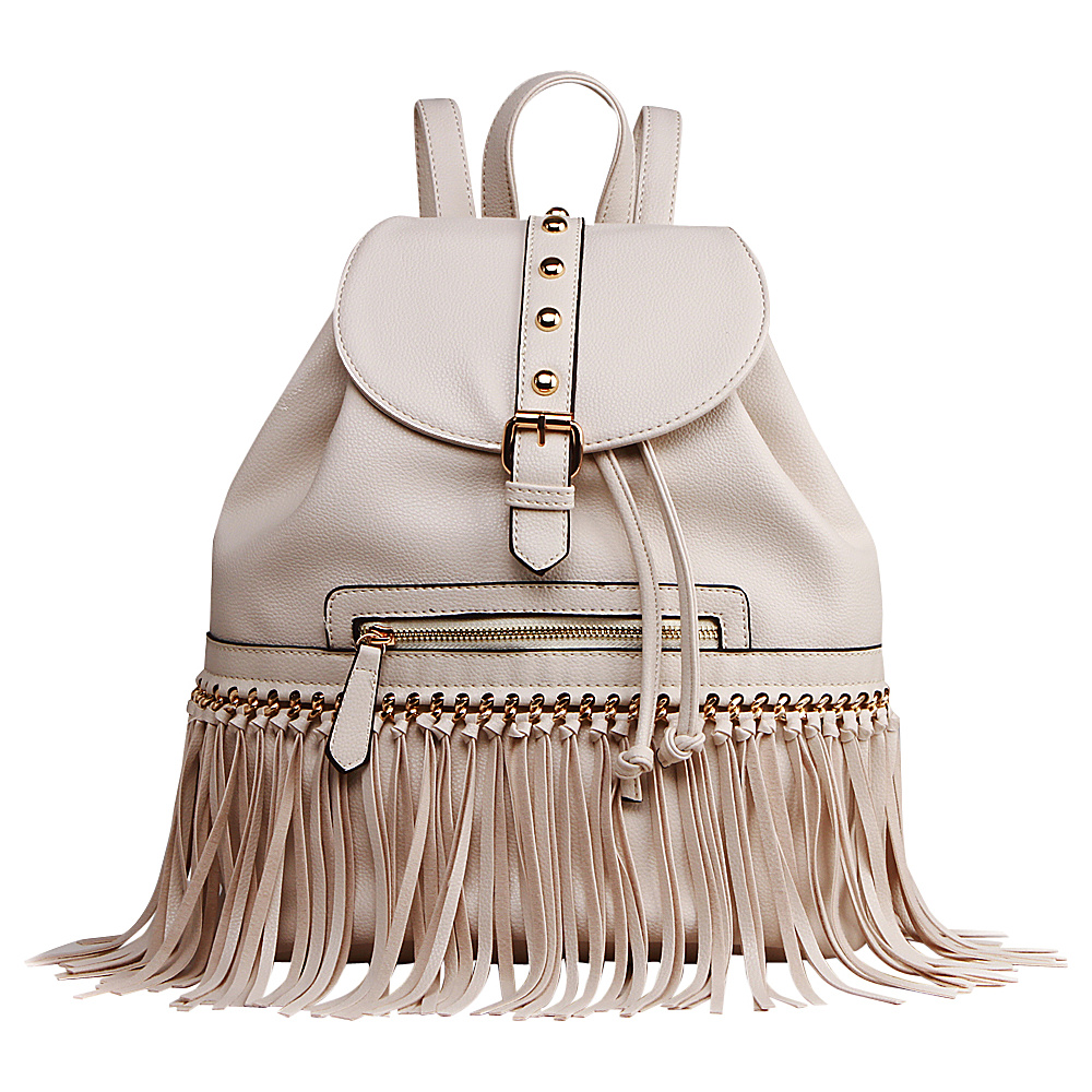 MKF Collection Monica Elegant Fringed Backpack Beige MKF Collection Manmade Handbags