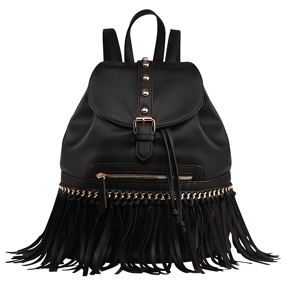 MKF Collection Monica Elegant Fringed Backpack Black MKF Collection Manmade Handbags