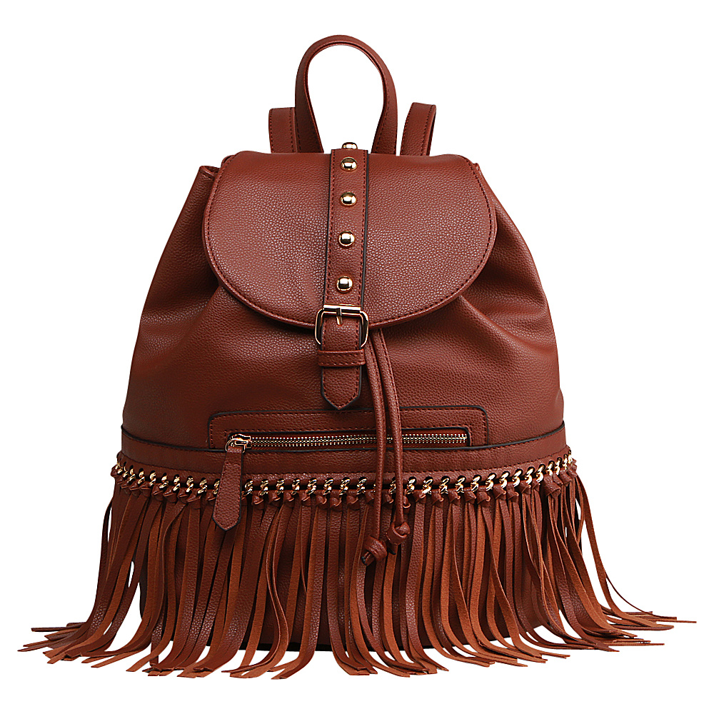 MKF Collection Monica Elegant Fringed Backpack Brown MKF Collection Manmade Handbags