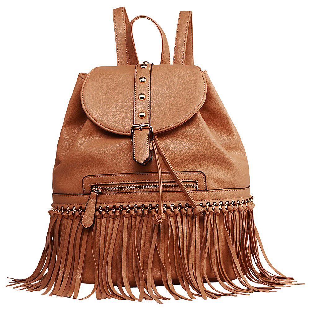 MKF Collection Monica Elegant Fringed Backpack Camel MKF Collection Manmade Handbags
