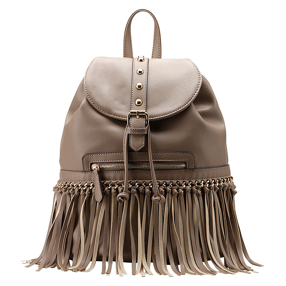 MKF Collection Monica Elegant Fringed Backpack Khaki MKF Collection Manmade Handbags