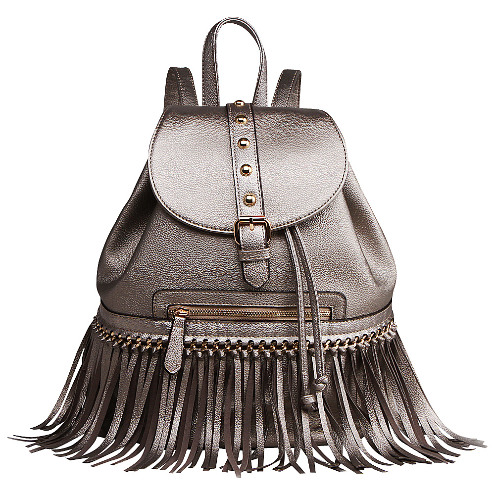 MKF Collection Monica Elegant Fringed Backpack Pewter MKF Collection Manmade Handbags