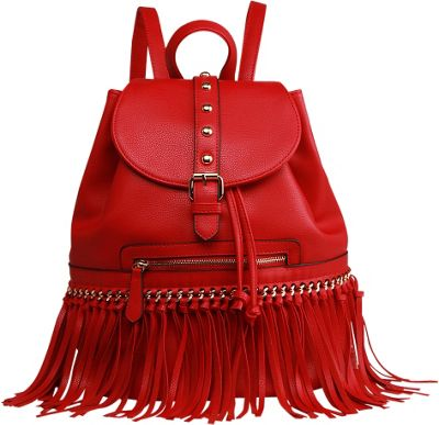 MKF Collection by Mia K. Farrow MKF Collection by Mia K. Farrow Monica Elegant  Fringed  Backpack Red - MKF Collection by Mia K. Farrow Manmade Handbags