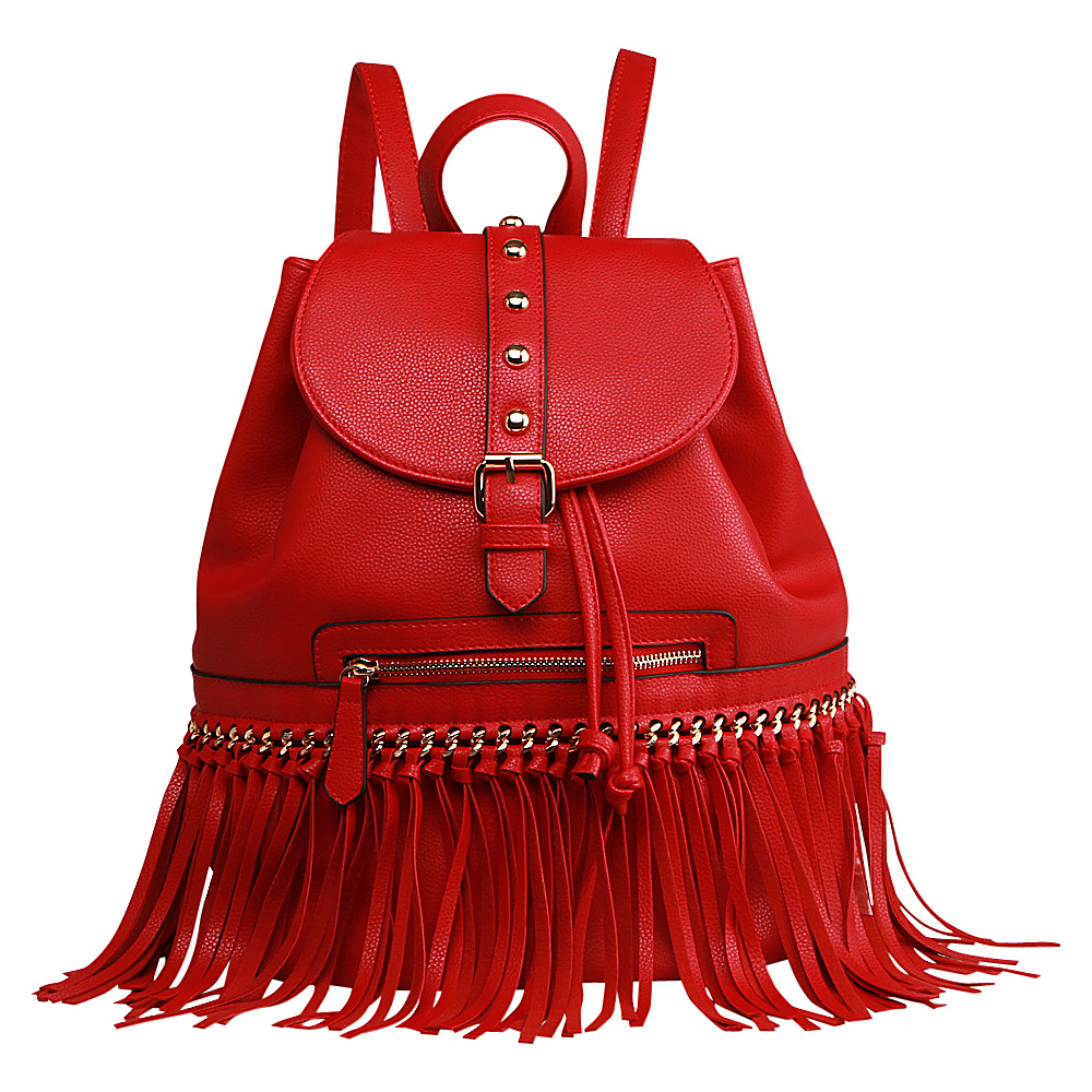 MKF Collection Monica Elegant Fringed Backpack Red MKF Collection Manmade Handbags