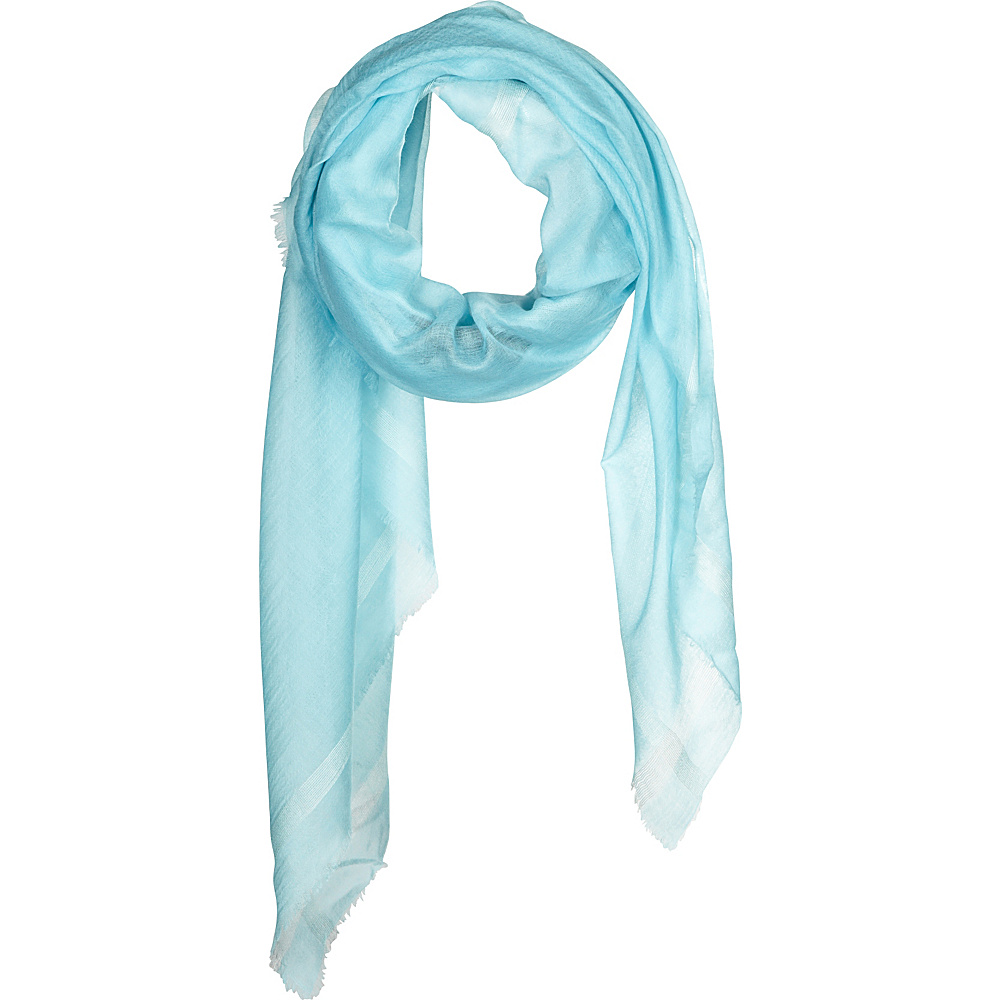 Kinross Cashmere Cashmere Scarf with Silk Border Aqua - Kinross Cashmere Hats/Gloves/Scarves - Fashion Accessories, Hats/Gloves/Scarves
