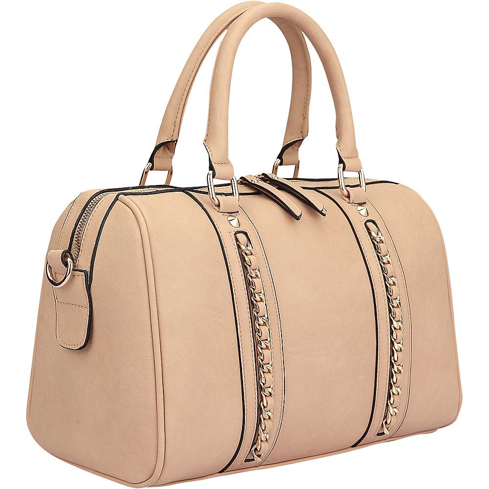 Dasein Faux Leather Medium Satchel Shoulder Bag Tan - Dasein Manmade Handbags - Handbags, Manmade Handbags