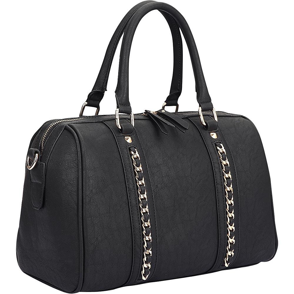 Dasein Faux Leather Medium Satchel Shoulder Bag Black - Dasein Manmade Handbags - Handbags, Manmade Handbags