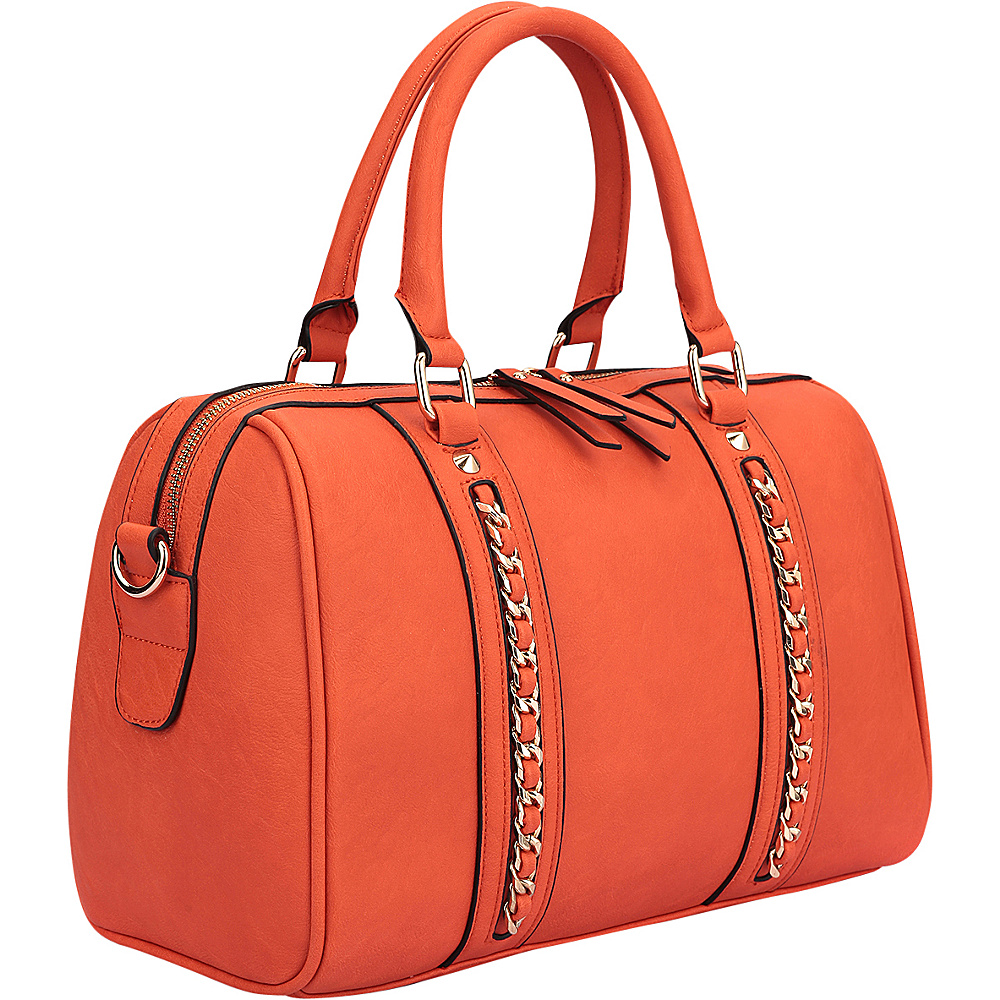 Dasein Faux Leather Medium Satchel Shoulder Bag Orange - Dasein Manmade Handbags - Handbags, Manmade Handbags