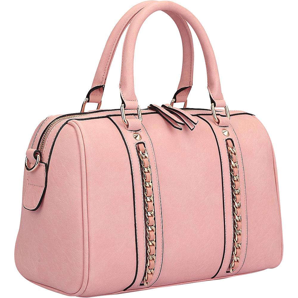 Dasein Faux Leather Medium Satchel Shoulder Bag Light Pink - Dasein Manmade Handbags - Handbags, Manmade Handbags