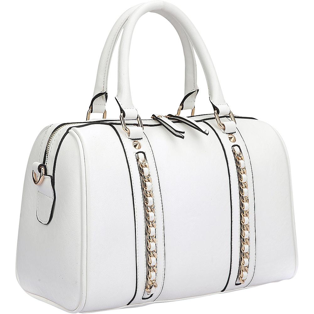 Dasein Faux Leather Medium Satchel Shoulder Bag White - Dasein Manmade Handbags - Handbags, Manmade Handbags