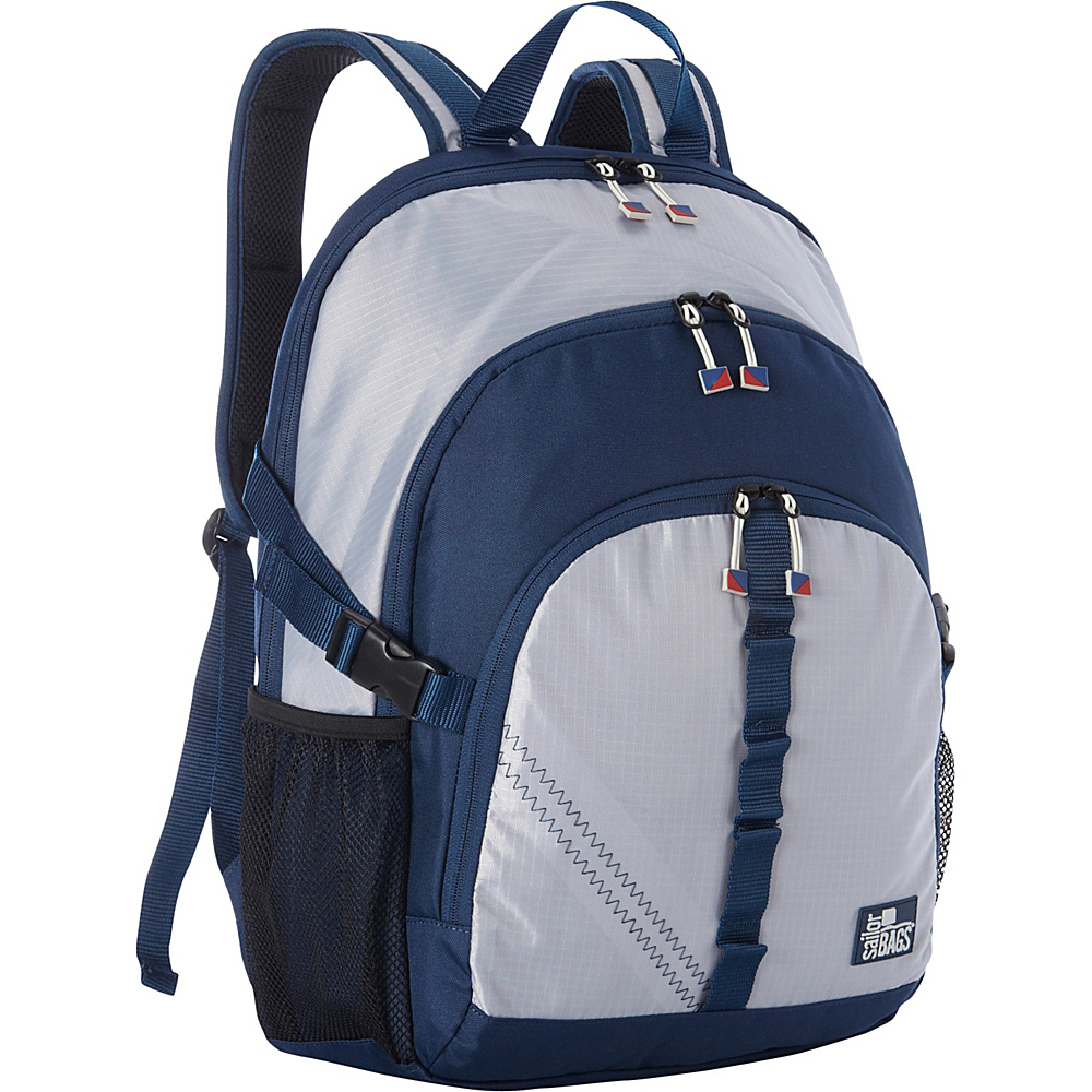 SailorBags Silver Spinnaker Daypack Silver with Blue Trim SailorBags Business Laptop Backpacks