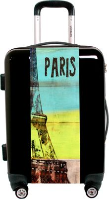 Ugo Bags Travel To Paris By Irena Orlov 22 inch Luggage Black - Ugo Bags Hardside Checked