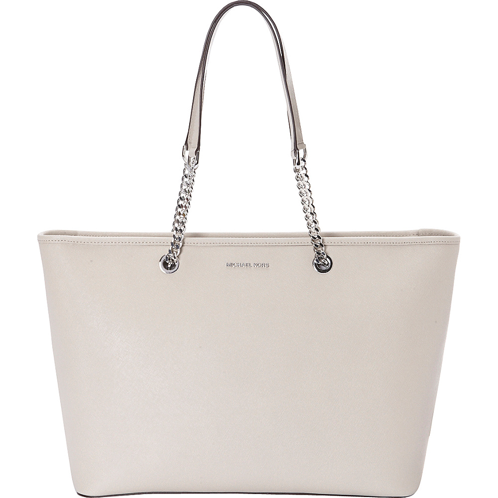 MICHAEL Michael Kors Jet Set Travel Chain Medium Top Zip Multifunction Tote Cement MICHAEL Michael Kors Designer Handbags