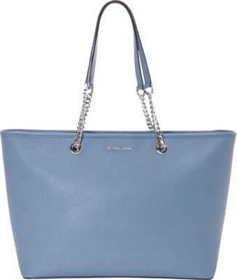 MICHAEL Michael Kors Jet Set Travel Chain Medium Top Zip Multifunction Tote Denim - MICHAEL Michael Kors Designer Handbags