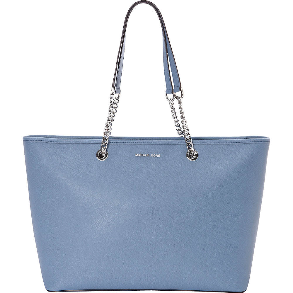 MICHAEL Michael Kors Jet Set Travel Chain Medium Top Zip Multifunction Tote Denim MICHAEL Michael Kors Designer Handbags