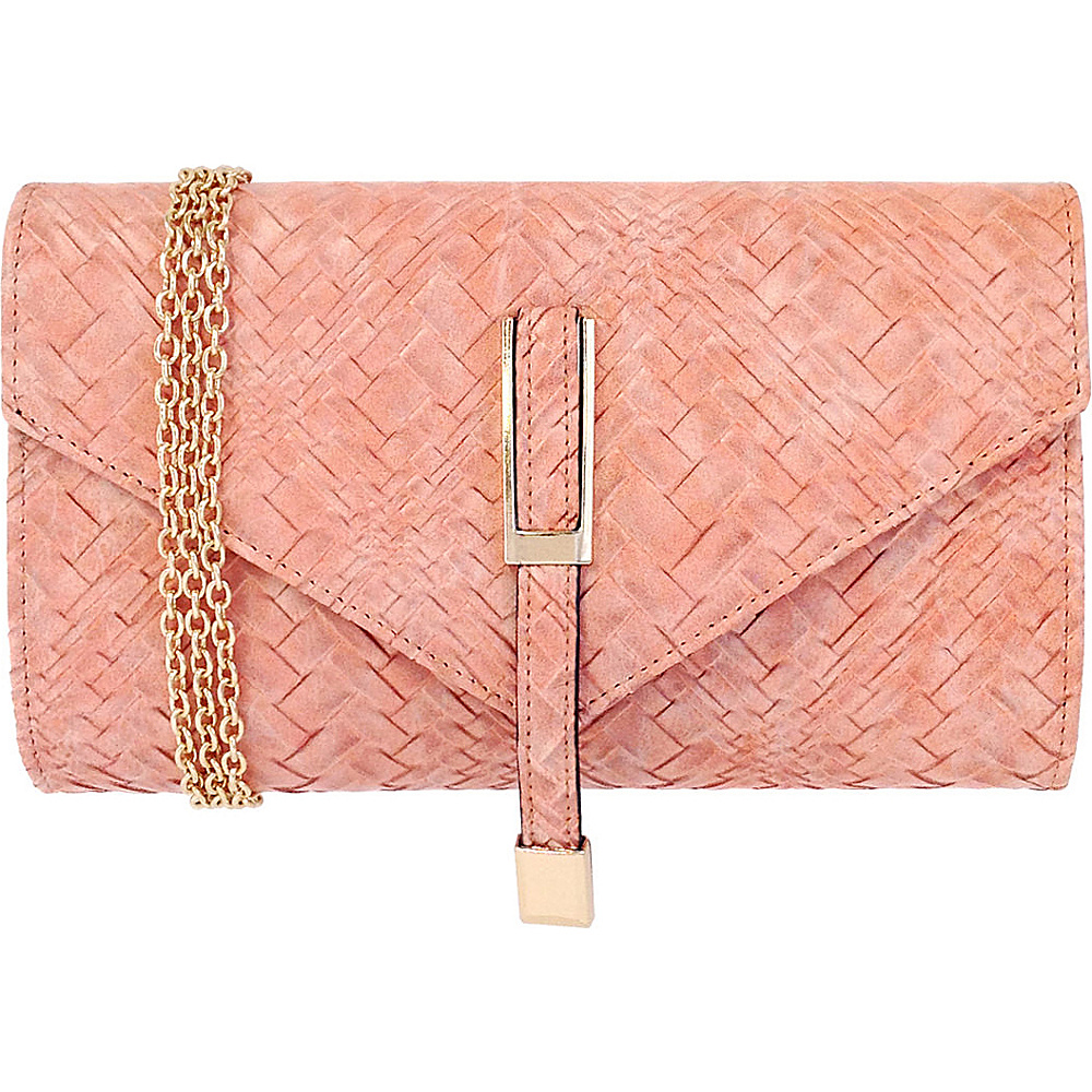 JNB Weaving Pattern Faux Leather Clutch Peach JNB Manmade Handbags