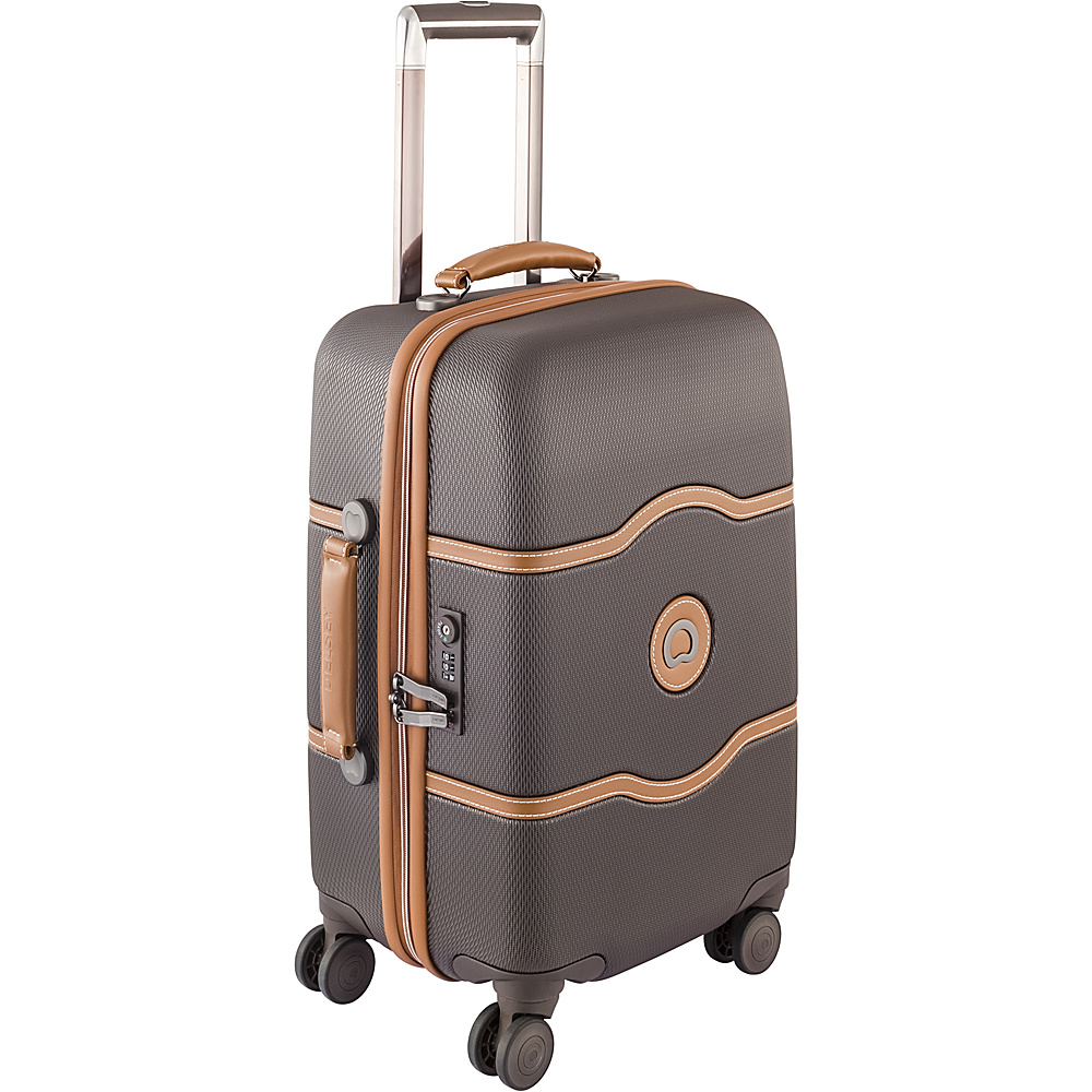 Delsey Chatelet Hard 21 4 Wheel Spinner Carry On Brown Delsey Hardside Carry On