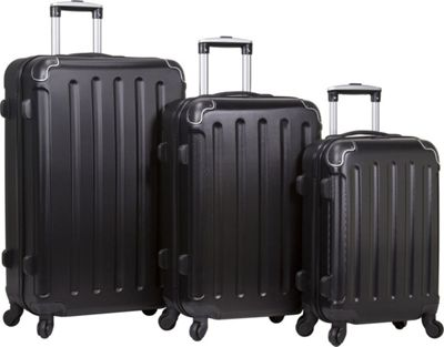 Dejuno Dejuno Neato 3-Piece Hardside Combination Lock Luggage Set Black - Dejuno Luggage Sets