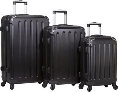 Dejuno Neato 3-Piece Hardside Combination Lock Luggage Set Black - Dejuno Luggage Sets