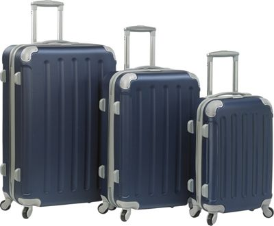 Dejuno Dejuno Neato 3-Piece Hardside Combination Lock Luggage Set Navy - Dejuno Luggage Sets