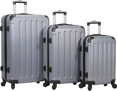 Dejuno Dejuno Neato 3-Piece Hardside Combination Lock Luggage Set Silver - Dejuno Luggage Sets