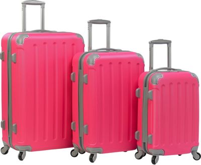 Dejuno Neato 3-Piece Hardside Combination Lock Luggage Set Pink - Dejuno Luggage Sets