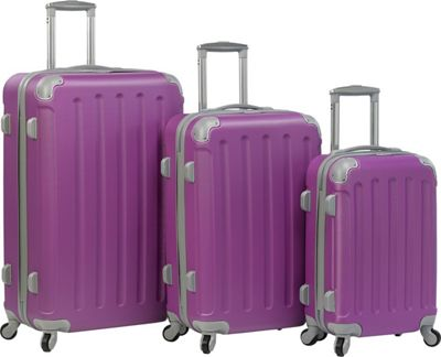 Dejuno Dejuno Neato 3-Piece Hardside Combination Lock Luggage Set Purple - Dejuno Luggage Sets