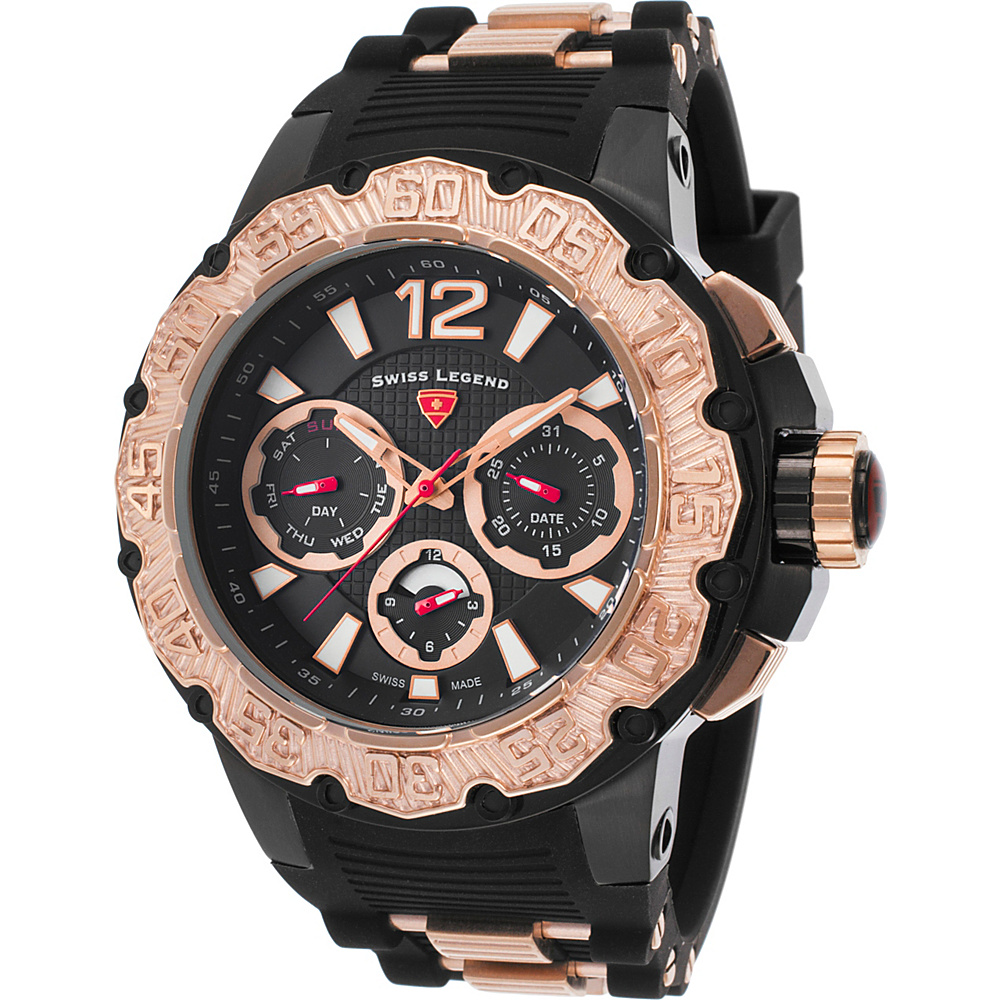 Swiss Legend Watches Opus Chronograph Silicone Band Watch Black/Black/Rose Gold - Swiss Legend Watches Watches
