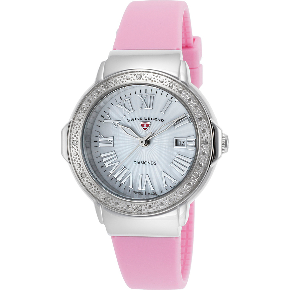 Swiss Legend Watches South Beach Diamond Silicone Band Watch Pink/Silver - Swiss Legend Watches Watches