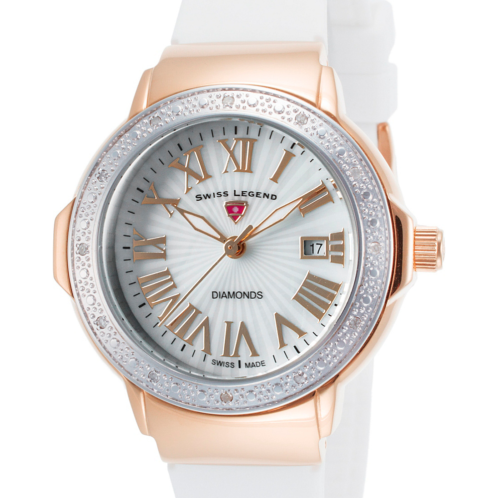 Swiss Legend Watches South Beach Diamond Silicone Band Watch White/Silver/Rose Gold - Swiss Legend Watches Watches