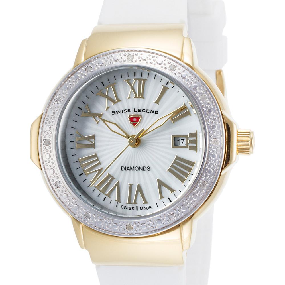 Swiss Legend Watches South Beach Diamond Silicone Band Watch White/Silver-Gold - Swiss Legend Watches Watches