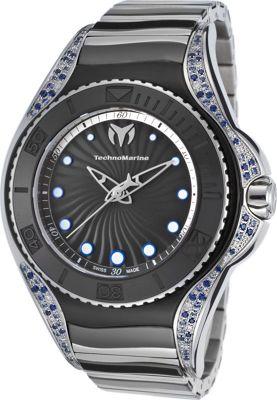 TechnoMarine Watches Womens Blue Manta Two-Tone Diamond Stainless Steel and Ceramic Watch Silver-Tone and black - TechnoMarine Watches Watches
