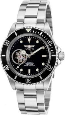 Invicta Watches Mens Pro Diver Automatic Stainless Steel Watch Silver/Black - Invicta Watches Watches