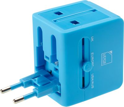 Lewis N. Clark Global Adapter with 2.1A Dual USB Charger Blue - Lewis N. Clark Electronic Accessories