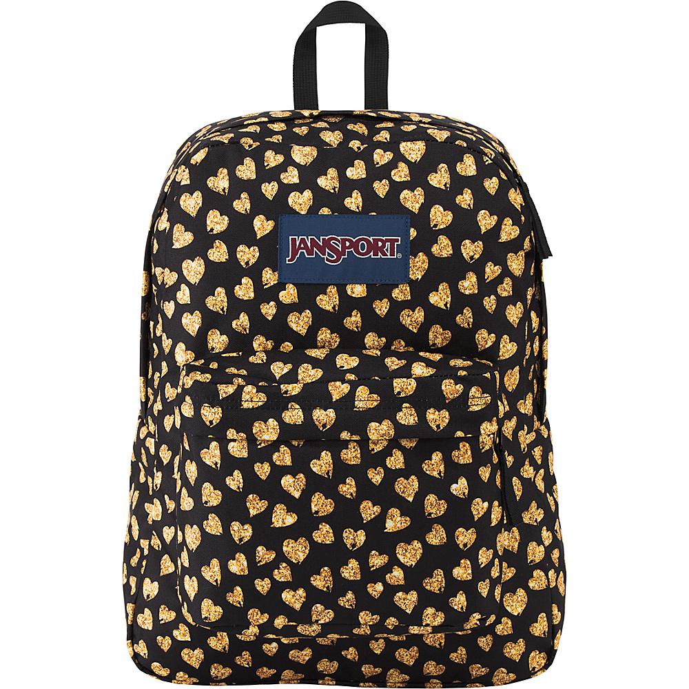 JanSport Superbreak Backpack- Sale Colors Glitter Hearts - JanSport Everyday Backpacks