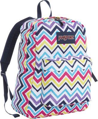 JanSport Superbreak Backpack- Sale Colors Multi Saucy Chevron - JanSport Everyday Backpacks