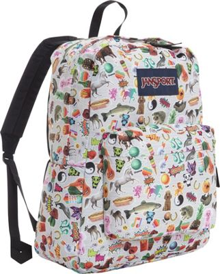 JanSport Superbreak Backpack- Sale Colors Multi Stickers - JanSport Everyday Backpacks