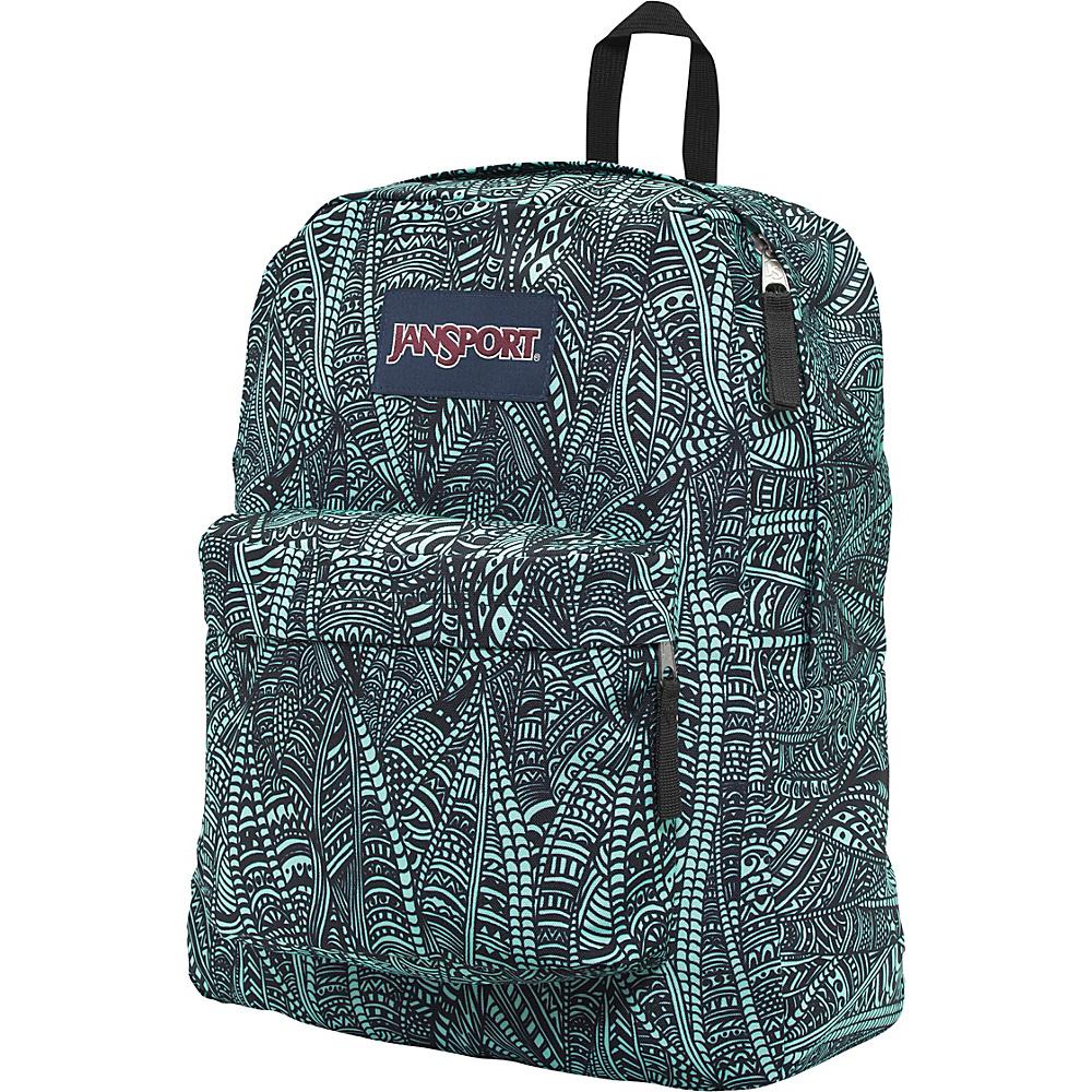 JanSport Superbreak Backpack- Discontinued Colors Aqua Dash Scribbled Ink - JanSport Everyday Backpacks - Backpacks, Everyday Backpacks