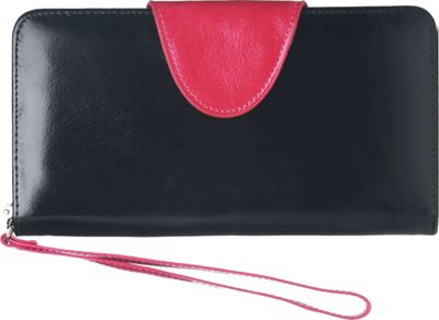 Vicenzo Leather Maine Distressed Leather Clutch Black - Vicenzo Leather Women's Wallets