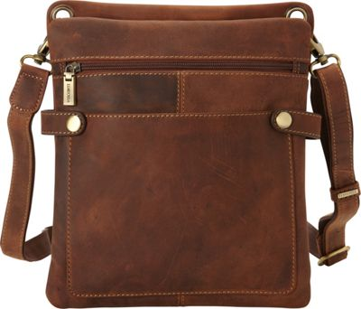 Visconti Distressed Leather Fashion Slim Crossbody Messenger Bag Oil Tan - Visconti Messenger Bags