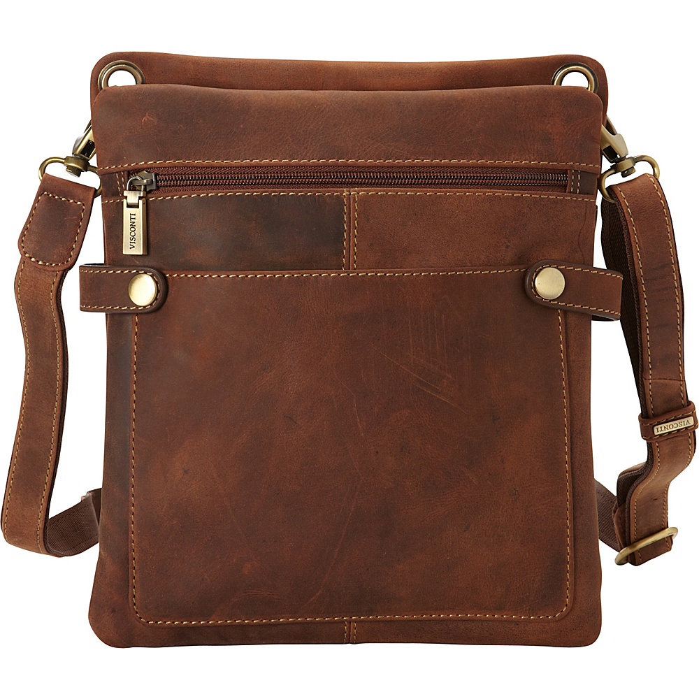 Visconti Distressed Leather Fashion Slim Crossbody Messenger Bag Oil Tan Visconti Messenger Bags