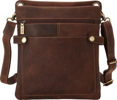 Visconti Distressed Leather Fashion Slim Crossbody Messenger Bag Oil Brown - Visconti Messenger Bags