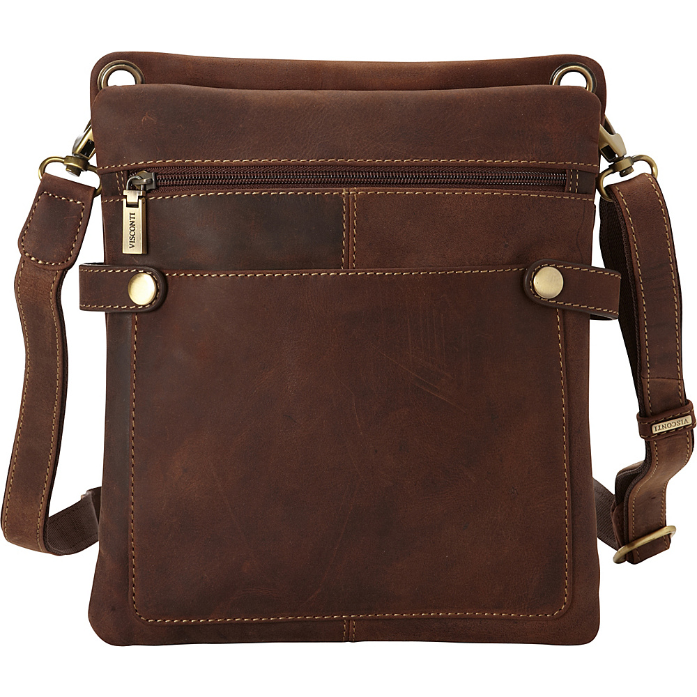 Visconti Distressed Leather Fashion Slim Crossbody Messenger Bag Oil Brown Visconti Messenger Bags