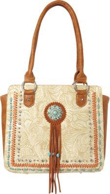 Montana West Concho Tote Bag Beige - Montana West Manmade Handbags
