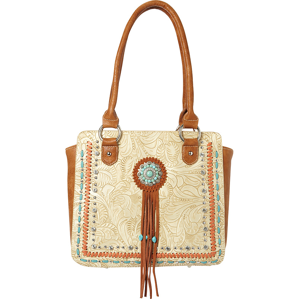 Montana West Concho Tote Bag Beige Montana West Manmade Handbags