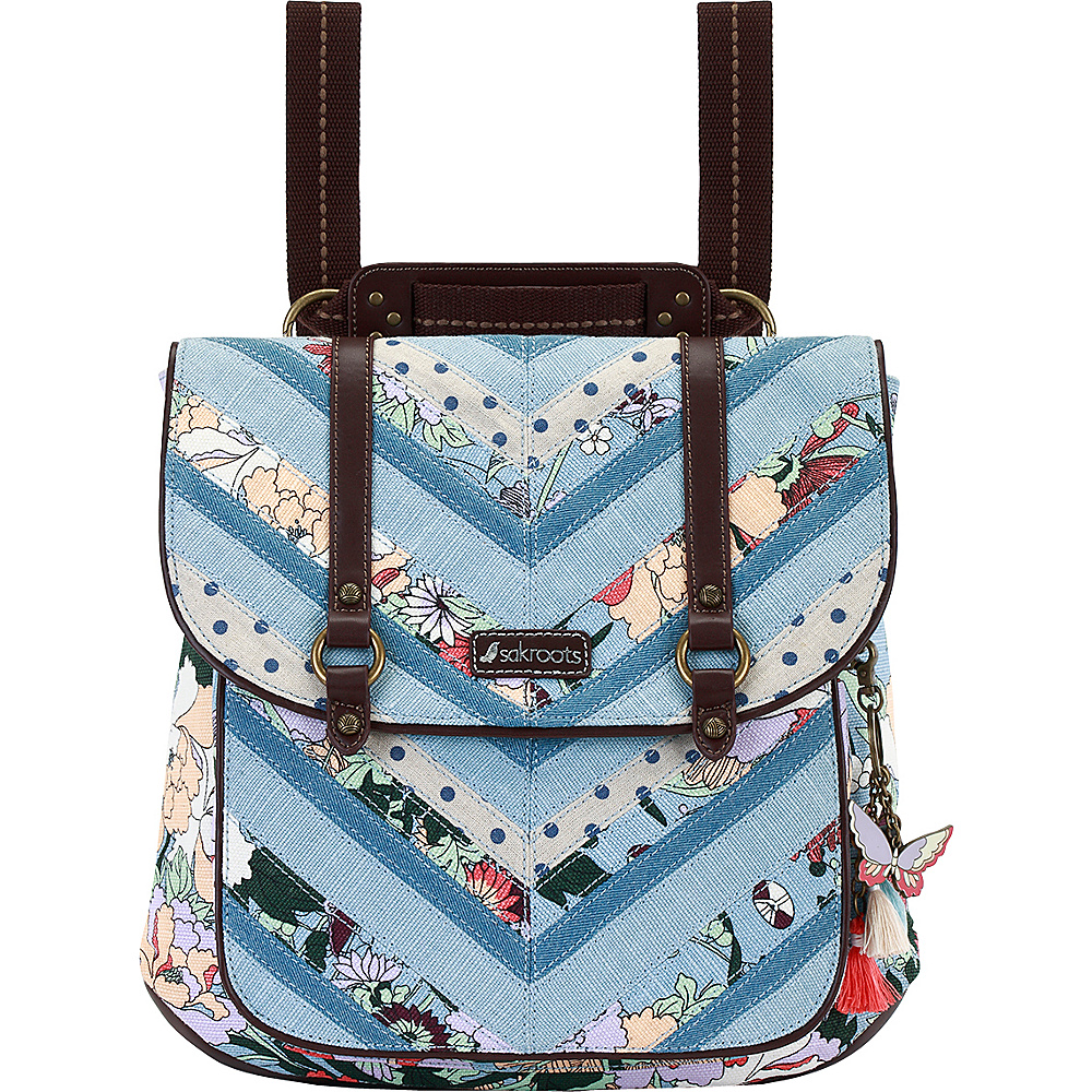 Sakroots Artist Circle Convertible Backpack Sky Blue Flower Power - Sakroots Fabric Handbags