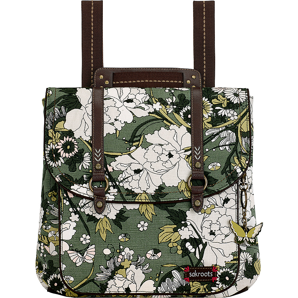 Sakroots Artist Circle Convertible Backpack Olive Flower Power - Sakroots Fabric Handbags