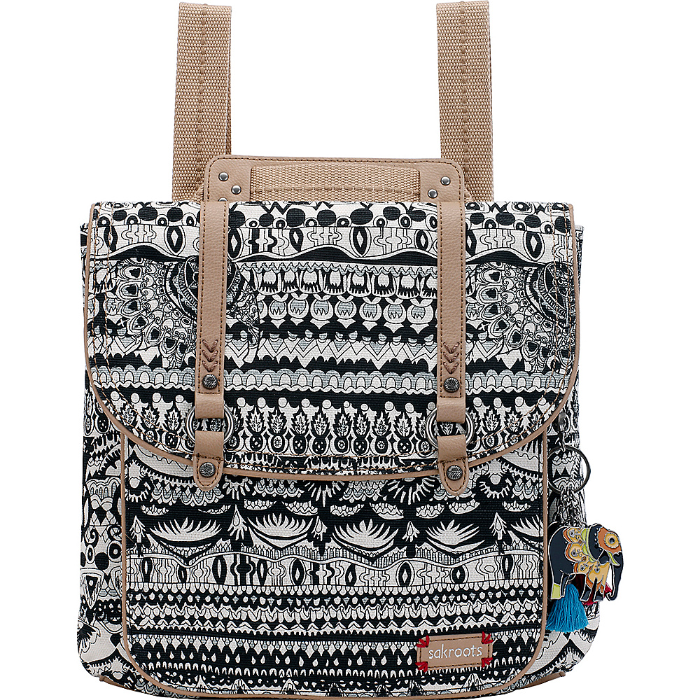 Sakroots Artist Circle Convertible Backpack Black & White One World - Sakroots Fabric Handbags - Handbags, Fabric Handbags