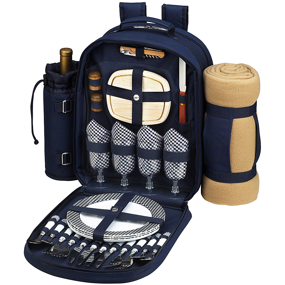 Picnic at Ascot Deluxe Equipped 4 Person Picnic Backpack with Cooler, Insulated Wine Holder & Blanket Navy/White w/Gingham - Picnic at Ascot Outdoor Coolers - Outdoor, Outdoor Coolers